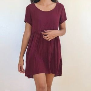 Brandy Melville Maroon Babydoll Mini Dress